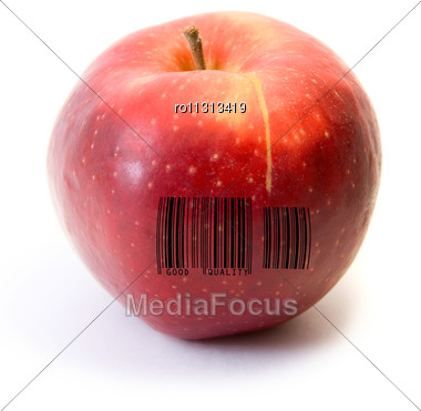 Red Apple Fruit With Barcode Isolated On White Background Stock Photo