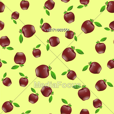 Red Apple Seamless Random Pattern On Yellow Background Stock Photo