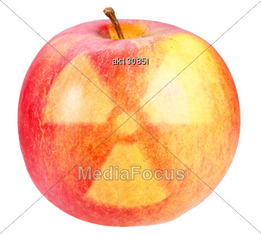 Red Apple With Sign Of Nuclear Danger. Art Design. Stock Photo