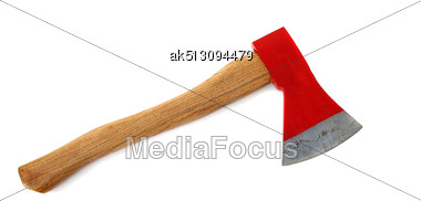 Red Axe Isolated On White Stock Photo