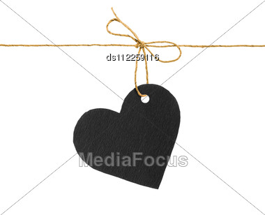Red And Black Paper Hearts On Rope Stock Photo