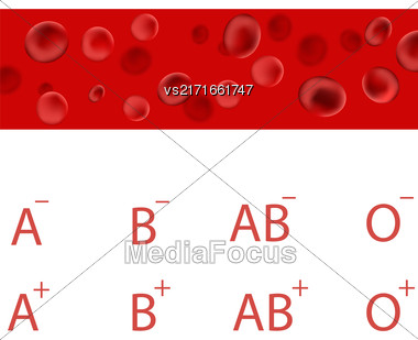 Red Blood Cells. Measurement Of Arterial Pressure. Blood Types. Medical Background Stock Photo