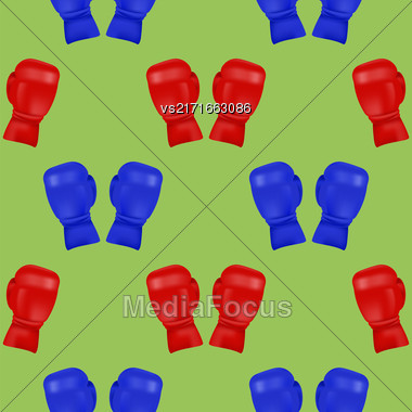 Red Blue Boxing Gloves Seamless Pattern Isolated On Green Background Stock Photo