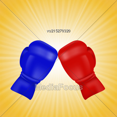 Red And Blue Boxing Gloves Isolated On Yellow Wave Background Stock Photo