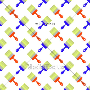 Red Blue Brushes Seamless Pattern On White. Paintbrush Background Stock Photo