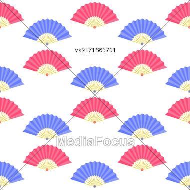 Red Blue Fan Seamless Pattern On White Stock Photo