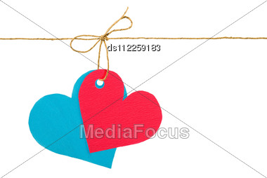 Red And Blue Paper Hearts On Rope Stock Photo