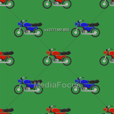 Red Blue Sport Bike Seamless Pattern On Green Background Stock Photo