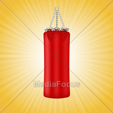 Red Boxing Bag Isolated On Yellow Sun Background Stock Photo