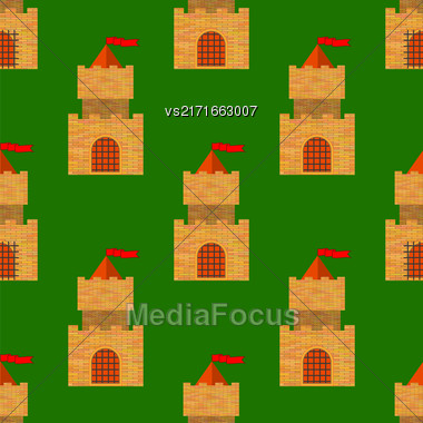 Red Brick Castle Seamless Pattern On Green. Retro Tower Background Stock Photo