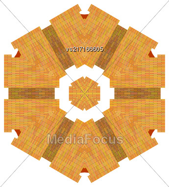 Red Brick Ornament Isolated On White Background Stock Photo