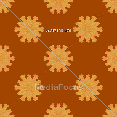 Red Brick Seamless Ornament Isolated On Orange Background Stock Photo
