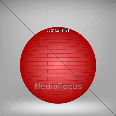 Red Brick Sphere On Grey Background For Your Design Stock Photo