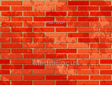 Red Brick Wall. Vector Illustration With Noise Textures Stock Photo