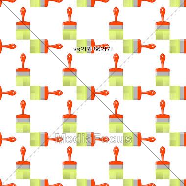 Red Brushes Seamless Pattern On White. Paintbrush Background Stock Photo