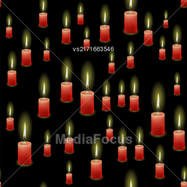 Red Burning Wax Candles Seamless Pattern Isolated On Black Background Stock Photo