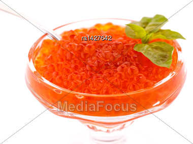 Red Caviar In Vase Isolated On A White Background Stock Photo