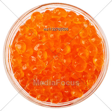 Red Caviar Isolated On White Background Cutout Stock Photo