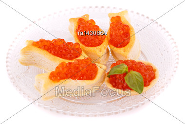 Red Caviar In Pastries On Glass Transparent Plate Stock Photo