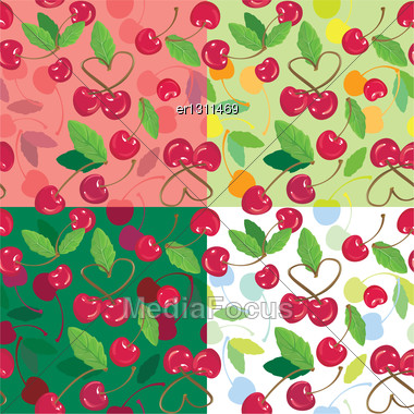 Red Cherries With Green Leaves On Green, Pink, White Backgrounds. A Seamless Background Stock Photo