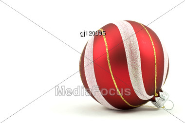 Red Christmas Ball With Ornament Stock Photo