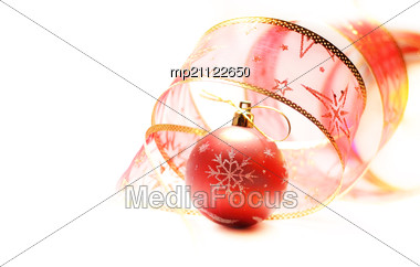 Red Christmas Ball With Rer Ribbon Stock Photo