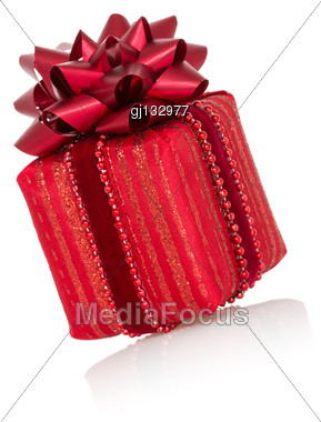 Red Christmas Gift Box With A Bow, Isolated On White Background Stock Photo