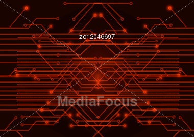 red circuit board on a black background stock image zo12046697