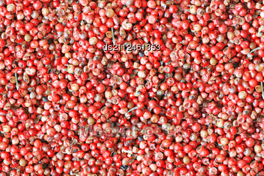 Red Colored Background Of Oriental Spice - Pepper Stock Photo