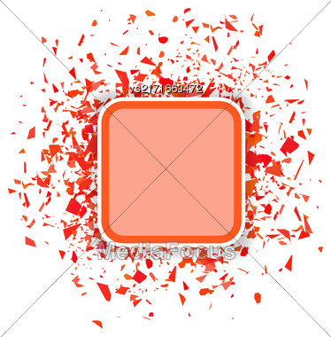 Red Confetti Banner Isolated On White Background. Set Of Particles Stock Photo