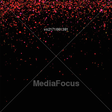 Red Confetti Isolated On Black Background. Abstract Red Parts Stock Photo