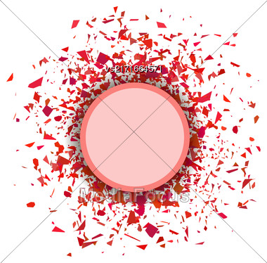 Red Confetti Round Banner Isolated On White Background. Set Of Particles Stock Photo