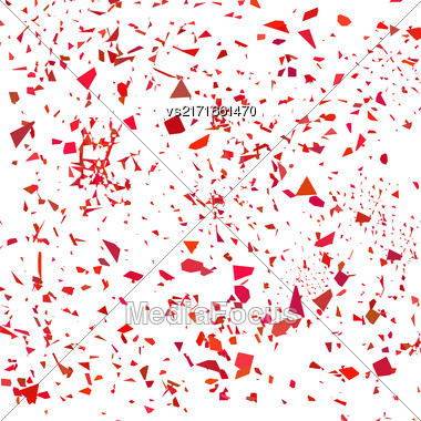 Red Confetti Isolated On White Background. Set Of Particles Stock Photo