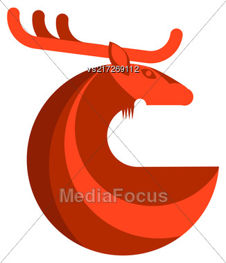 Red Deer Round Icon Isolated On White Background Stock Photo