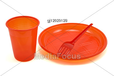 Red Disposable Tableware Stock Photo