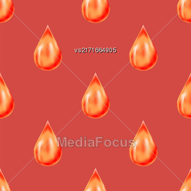 Red Drops Isolated On Red Background. Seamless Pattern Stock Photo