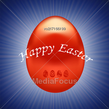 Red Easter Egg Isolated On Wave Blue Background Stock Photo