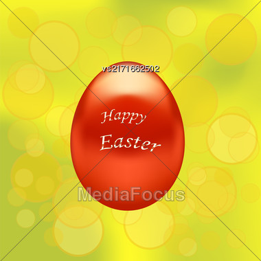 Red Easter Eggs On Yellow Blurred Spring Background Stock Photo