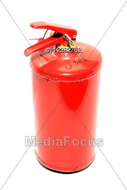 Red Extinguisher Stock Photo