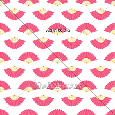 Red Fan Icons Seamless Pattern On White Stock Photo