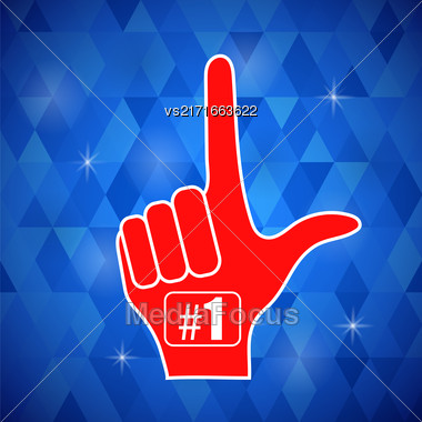 Red Foam Finger Isolated On Blue Polygonal Background Stock Photo