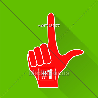 Red Foam Finger Isolated On Green Background. Long Shadow Stock Photo