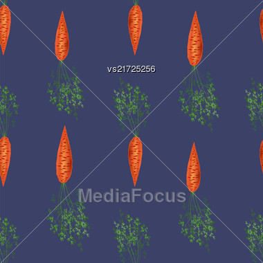 Red Fresh Carrot Seamless Pattern On Blue Background Stock Photo