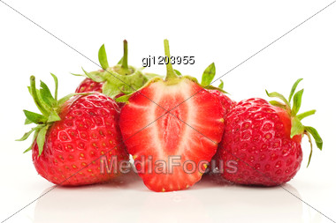 Red Fresh Strawberries Stock Photo