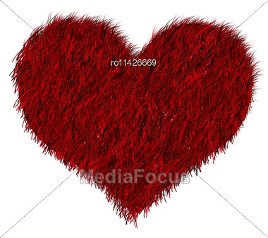 Red Furred Heart On White Stock Photo