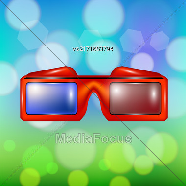 Red Glasses For Watching Movies Isolated On Summer Colorful Blurred Backround Stock Photo