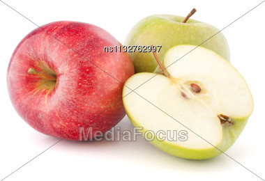 Red And Green Apple Isolated On White Background Cutout Stock Photo