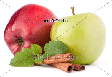 Red And Green Apples, Cinnamon Sticks And Mint Leaves Still Life Isolated On White Cutout Stock Photo