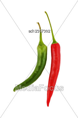Red And Green Hot Chili Peppers On White Stock Photo