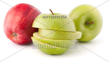 Red And Green Sliced Apples Isolated On White Background Cutout Stock Photo